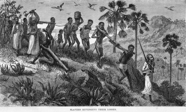 esclavistas musulmanes y sus cautivos en rio ruvuma en mozambique