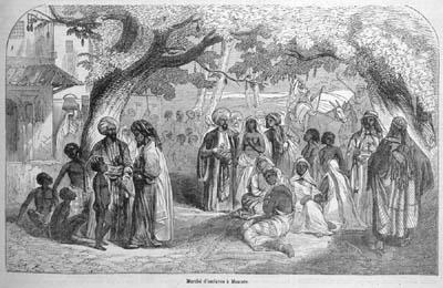 Mercado de esclavos en Masqat, Muscat, capital de oman, arabes comercian con africanos
