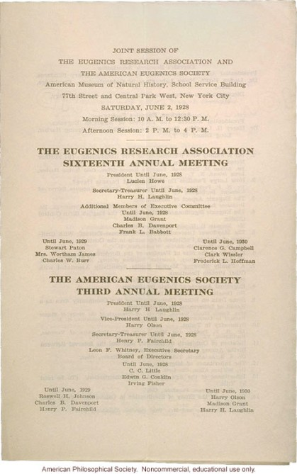 American Eugenic Society 3 annual meeting 1928