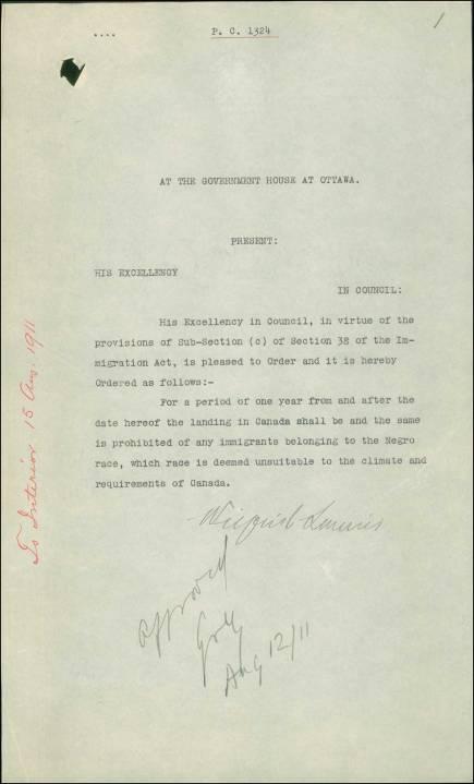 Canada decreto ley negros